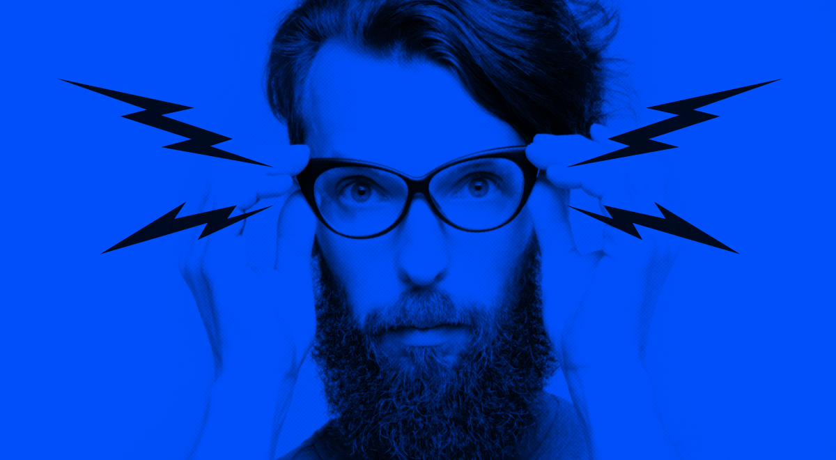 En hipster som jobbar med kommunikation